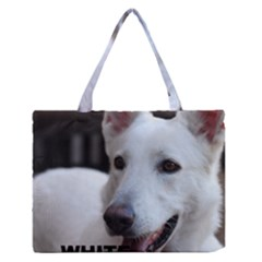 White German Shepherd Love W Pic Medium Zipper Tote Bag by TailWags