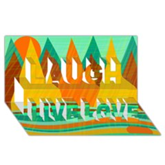 Orange And Green Landscape Laugh Live Love 3d Greeting Card (8x4) by Valentinaart