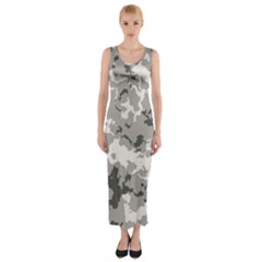 Winter Camouflage Fitted Maxi Dress