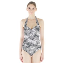 Winter Camouflage Halter Swimsuit