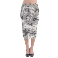Winter Camouflage Midi Pencil Skirt