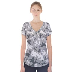 Winter Camouflage Short Sleeve Front Detail Top