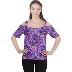 Purple Paisley Visions  Women s Cutout Shoulder Tee by KirstenStar