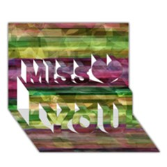 Colorful Marble Miss You 3d Greeting Card (7x5)