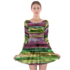 Colorful Marble Long Sleeve Skater Dress