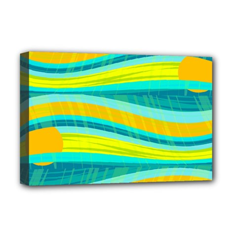 Yellow And Blue Decorative Design Deluxe Canvas 18  X 12   by Valentinaart