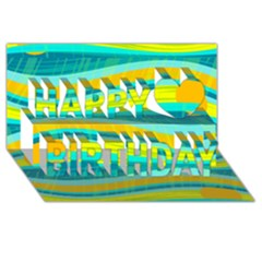 Yellow And Blue Decorative Design Happy Birthday 3d Greeting Card (8x4) by Valentinaart