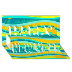Yellow And Blue Decorative Design Happy New Year 3d Greeting Card (8x4) by Valentinaart