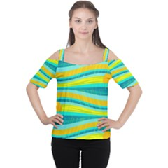 Yellow And Blue Decorative Design Women s Cutout Shoulder Tee by Valentinaart