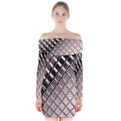 3d Abstract Metal Silver Pattern Long Sleeve Off Shoulder Dress