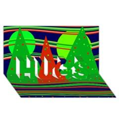 Magical Xmas Night Hugs 3d Greeting Card (8x4) by Valentinaart
