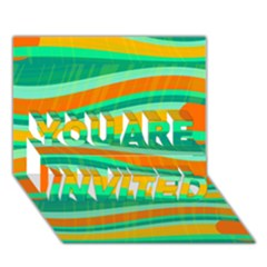Green And Orange Decorative Design You Are Invited 3d Greeting Card (7x5) by Valentinaart
