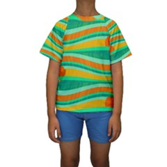 Green and orange decorative design Kids  Short Sleeve Swimwear by Valentinaart