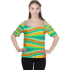 Green And Orange Decorative Design Women s Cutout Shoulder Tee by Valentinaart