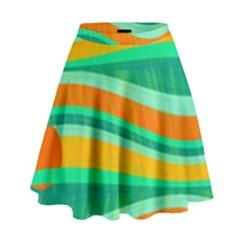 Green and orange decorative design High Waist Skirt by Valentinaart