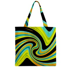 Blue And Yellow Zipper Grocery Tote Bag by Valentinaart