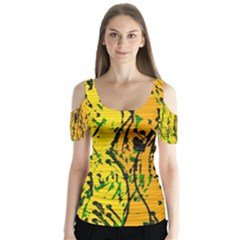 Gentle yellow abstract art Butterfly Sleeve Cutout Tee  by Valentinaart