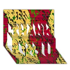 Maroon And Ocher Abstract Art Thank You 3d Greeting Card (7x5) by Valentinaart