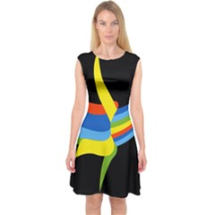 Abstraction Banana Capsleeve Midi Dress by AnjaniArt