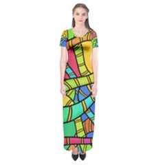 Abstrak Short Sleeve Maxi Dress by AnjaniArt