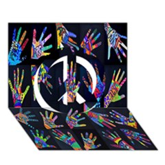 Art With Your Hand Peace Sign 3d Greeting Card (7x5) by AnjaniArt