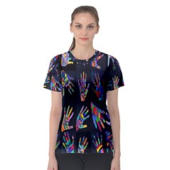 Art With Your Hand Women s Sport Mesh Tee by AnjaniArt