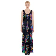 Art With Your Hand Maxi Thigh Split Dress by AnjaniArt