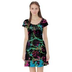Graffiti Style Design Short Sleeve Skater Dress by Valentinaart