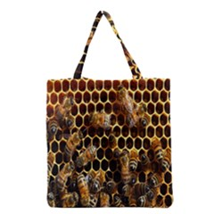 Bees On A Comb Grocery Tote Bag by AnjaniArt