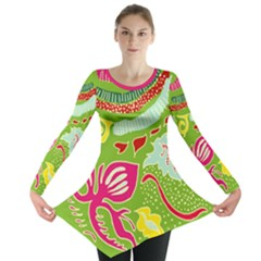 Green Organic Abstract Long Sleeve Tunic  by DanaeStudio
