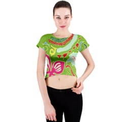 Green Organic Abstract Crew Neck Crop Top