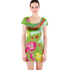 Green Organic Abstract Short Sleeve Bodycon Dress