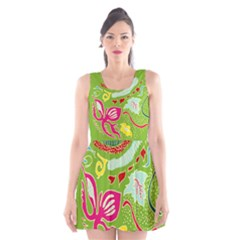 Green Organic Abstract Scoop Neck Skater Dress