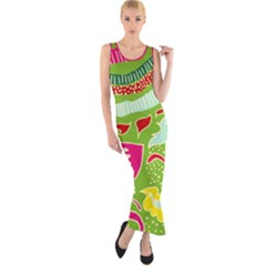 Green Organic Abstract Fitted Maxi Dress