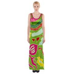 Green Organic Abstract Maxi Thigh Split Dress by DanaeStudio