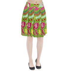 Green Organic Abstract Pleated Skirt