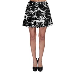 Black And White Confusion Skater Skirt by Valentinaart