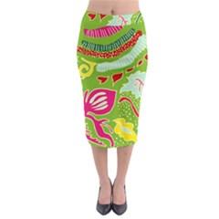 Green Organic Abstract Midi Pencil Skirt by DanaeStudio