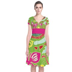 Green Organic Abstract Short Sleeve Front Wrap Dress