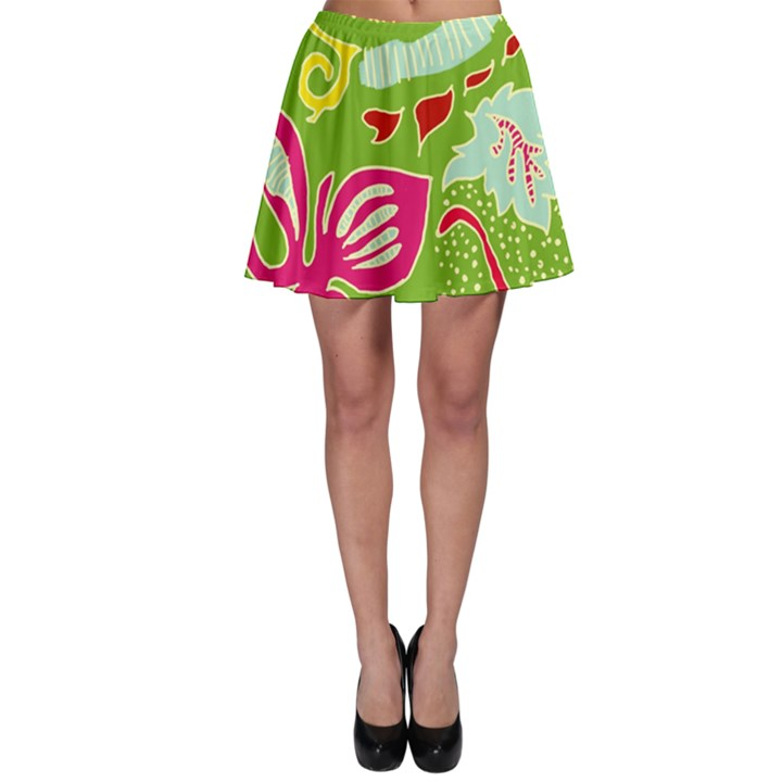 Green Organic Abstract Skater Skirt