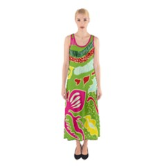 Green Organic Abstract Sleeveless Maxi Dress by DanaeStudio