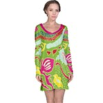 Green Organic Abstract Long Sleeve Nightdress