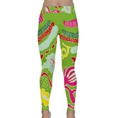 Green Organic Abstract Yoga Leggings  by DanaeStudio