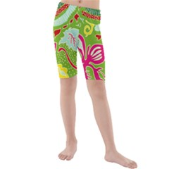 Green Organic Abstract Kids  Mid Length Swim Shorts