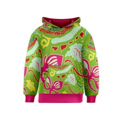 Green Organic Abstract Kids  Pullover Hoodie