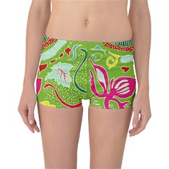 Green Organic Abstract Boyleg Bikini Bottoms by DanaeStudio