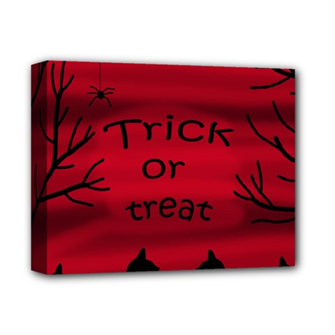 Trick Or Treat   Black Cat Deluxe Canvas 14  X 11  by Valentinaart