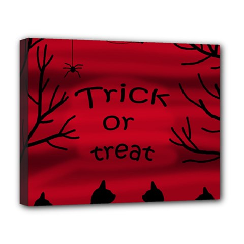 Trick Or Treat   Black Cat Deluxe Canvas 20  X 16   by Valentinaart
