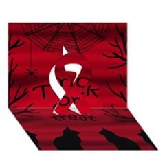 Trick Or Treat   Black Cat Ribbon 3d Greeting Card (7x5)