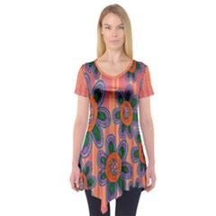 Colorful Floral Dream Short Sleeve Tunic  by DanaeStudio